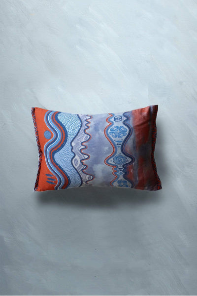 Buy Terra (14 X 20 In) Cushion Cover (Blue/Grey) Online | Freedomtree.in