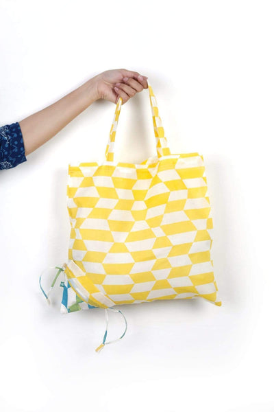 Cotton Sheeting Sack In Yellow Shade And Screen Printed Upcycled Style