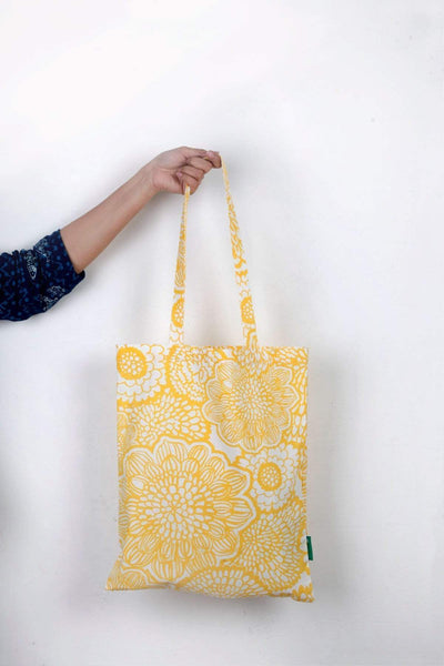 Cotton Duck Tote In Yellow Shade And Screen Printed Upcycled Style