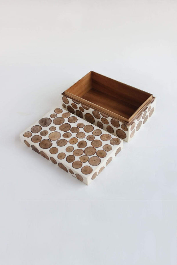 Wood Box In Black & White Shade And Handcrafted Design
