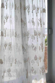 Voile Sheer Fabric And Curtains In Khadi Shade And Digital Printed Style
