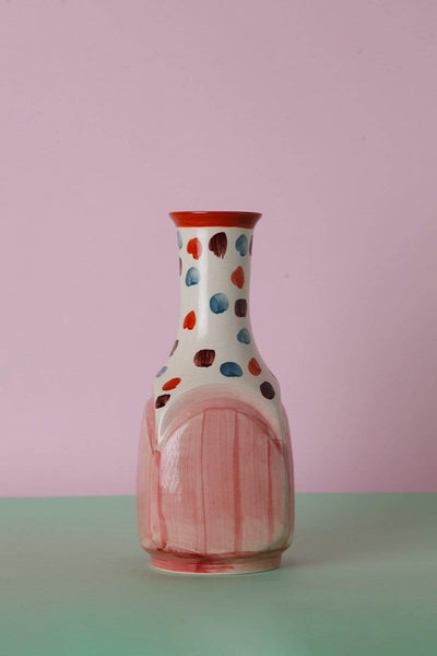 Ceramic Ceramic Vase In Mauve/Coral Color And Handcrafted Design