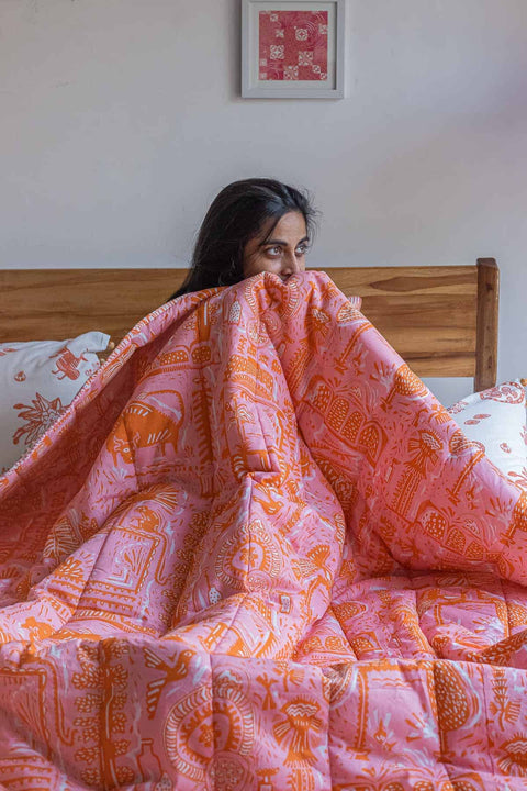 Buy Udanti Quilt (Pink/Orange) Online | Freedomtree.in
