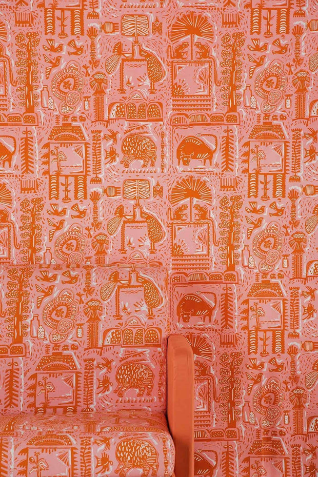 Buy Udanti Upholstery Fabric (Pink/Orange) Online | Freedomtree.in