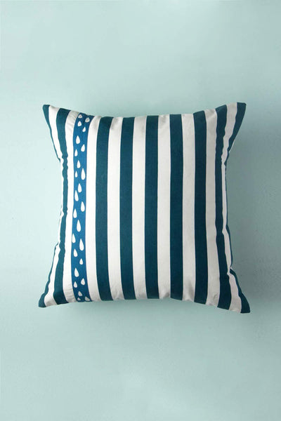 Cotton Sheeting Cushion Cover In Deep Blue Shade And Woven Striper Style