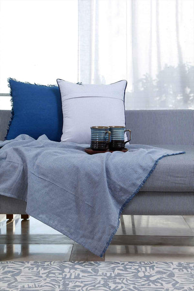 Woven Cotton Throw In Grey/Blue Color And Handcrafted Style