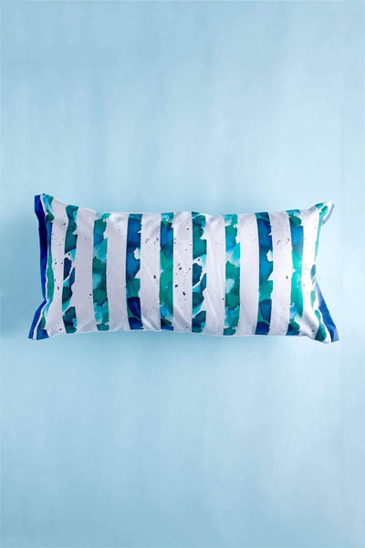 Cotton Satin Cushion Cover In Blue/Green Color And Handcrafted Style