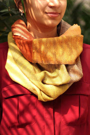 Silk/Wool Scarve In Red Shade And Screen Printed Design