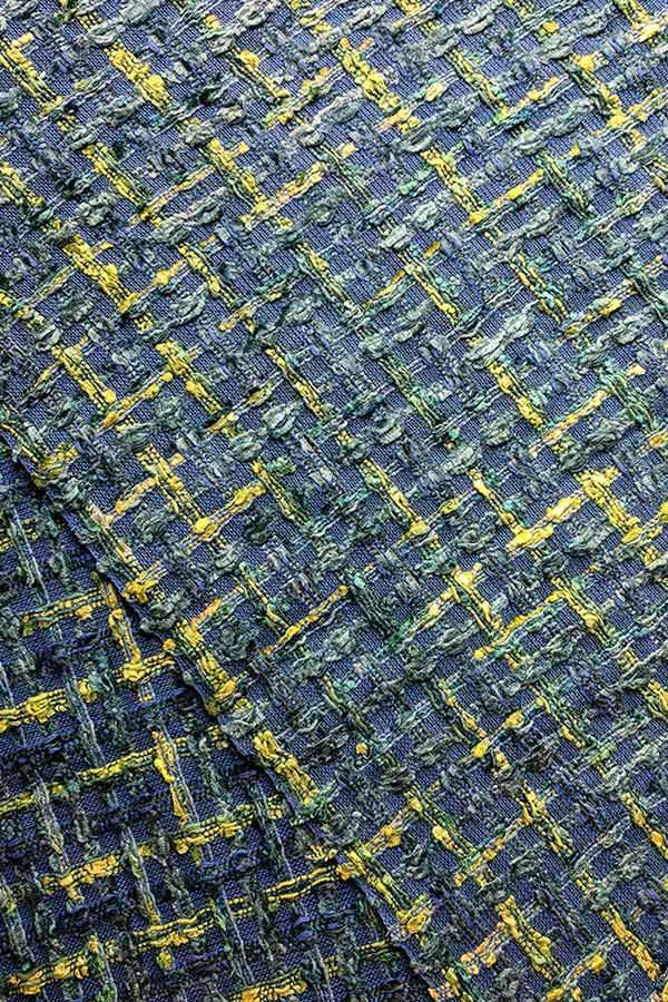 Cotton & Viscose Tweed Upholstery In Green/Blue Color And Woven Textured Style