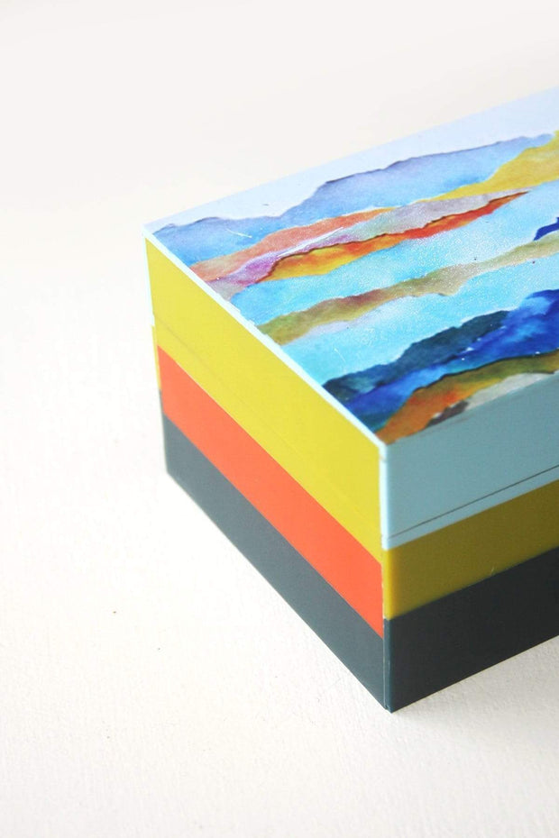 Inlay Box In Turquoise Shade And Printed Design