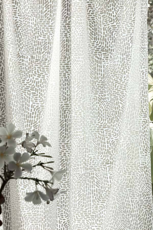 Cotton Voile Sheer Fabric And Curtains In Khadi Shade And Screen Printed Abstract Design