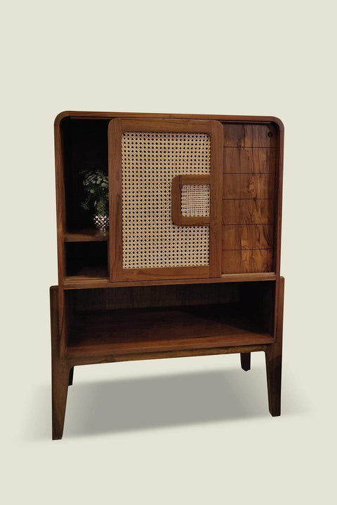 Teak Wood & Wicker Bar Cabinet In Natural Color And Retro And Vintage Style