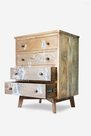 Mango Wood Chest Of Drawers In Natural Color And Handcrafted And Carved Style
