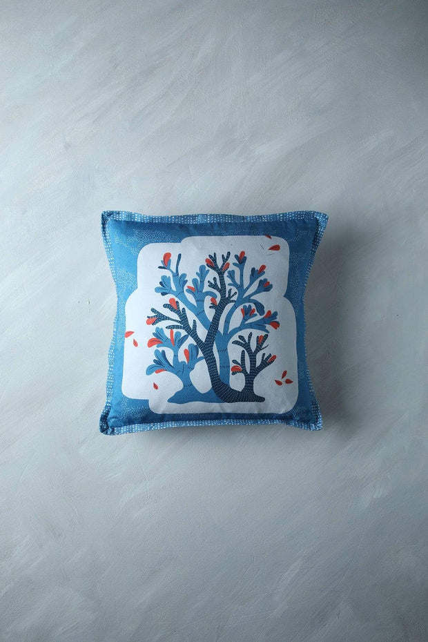 Buy Wonderland Tree (16 X 16 In) Cushion Cover (Blue) Online | Freedomtree.in