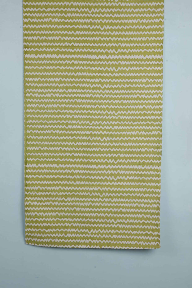 100% Cotton Printed Rug In Lime Shade And Floral Screen Printed Style