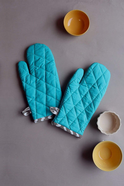 Buy Solid Oven Mitts (Turquoise) Online | Freedomtree.in