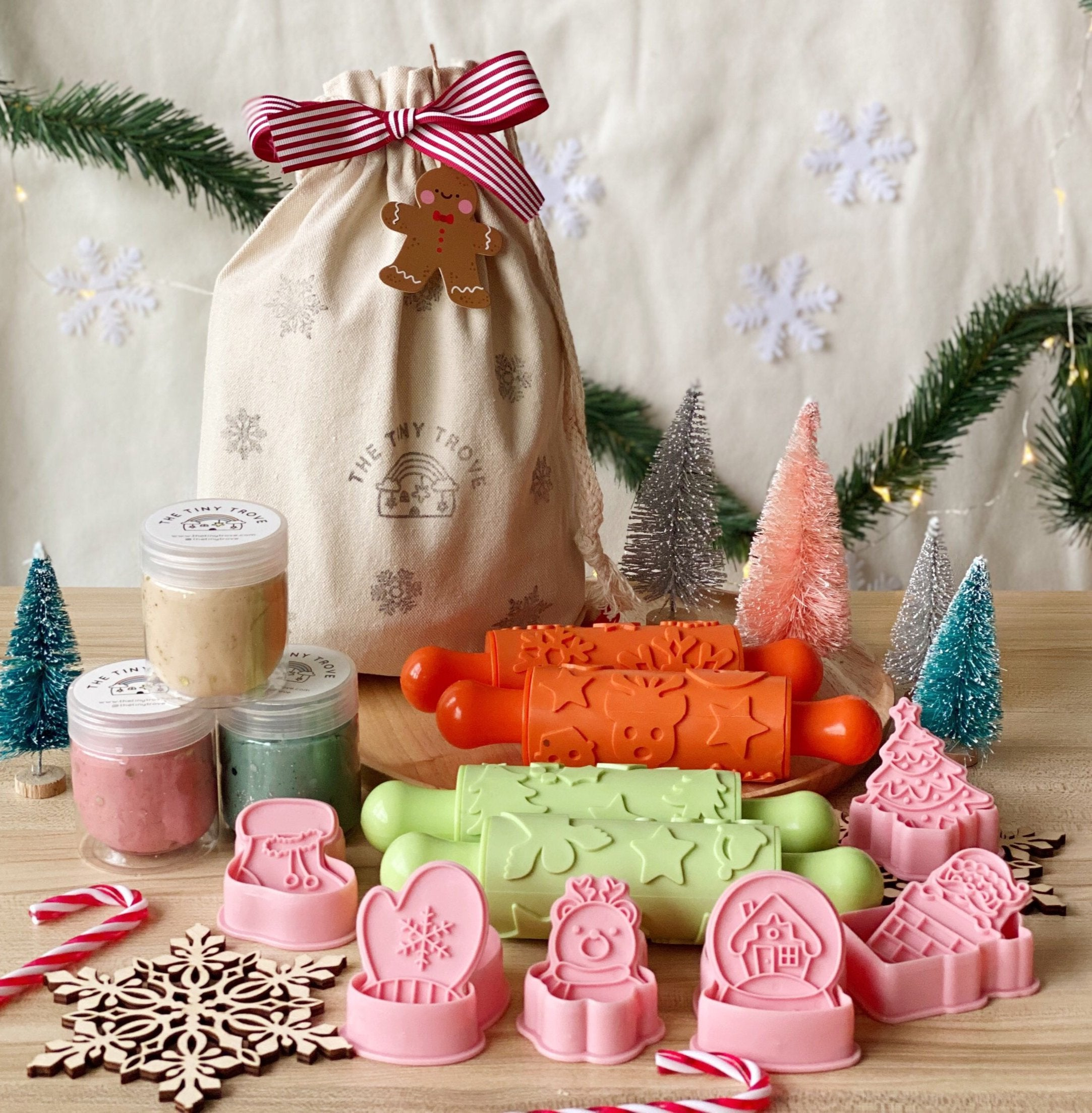 Christmas Textured Rollers and Dough Kit Sack