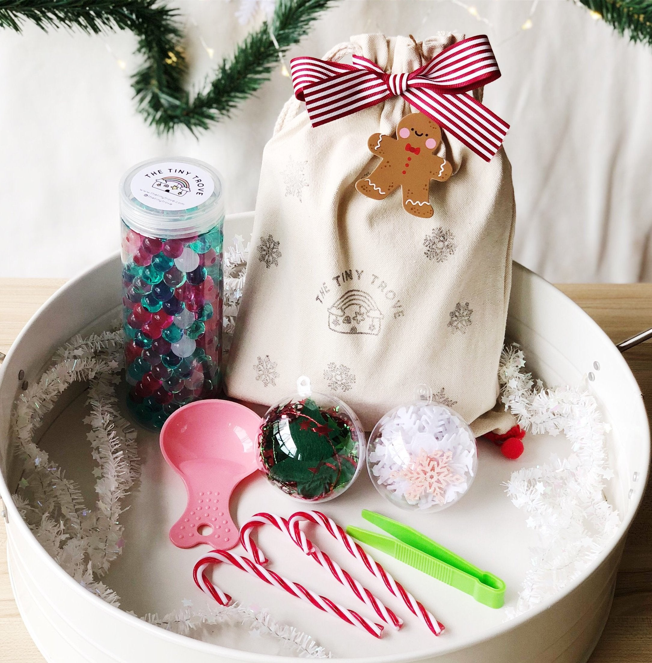 Candy Cane Christmas Waterbeads Sensory Play Kit Sack