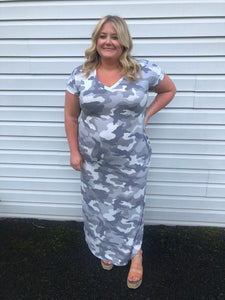Gray Army Print Ankle Length Maxi Dress