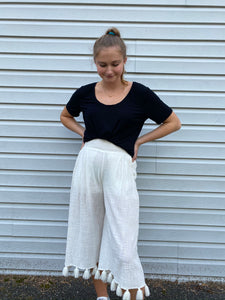 Cropped Tassel Pants