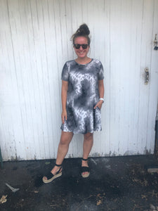 Black & White Tie Dye Dress