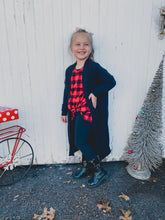 Load image into Gallery viewer, KIDS Black Long Line Cardigan