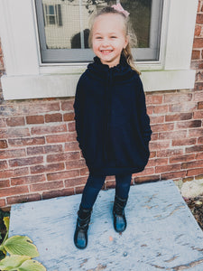 KIDS Tunic Cowl Neck Top Black