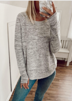 Streak Brush Thumbhole Sweater Grey