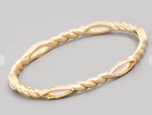 Dainty Metallic Twist Ring Gold