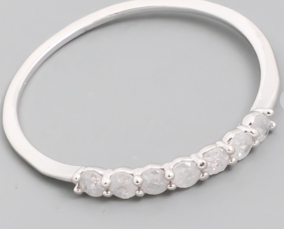 Delicate Studded Ring Silver