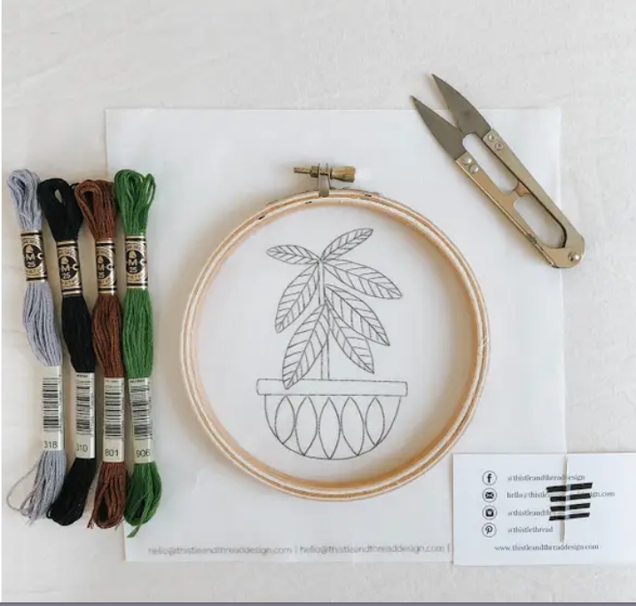 Rubber Tree Embroidery Kit