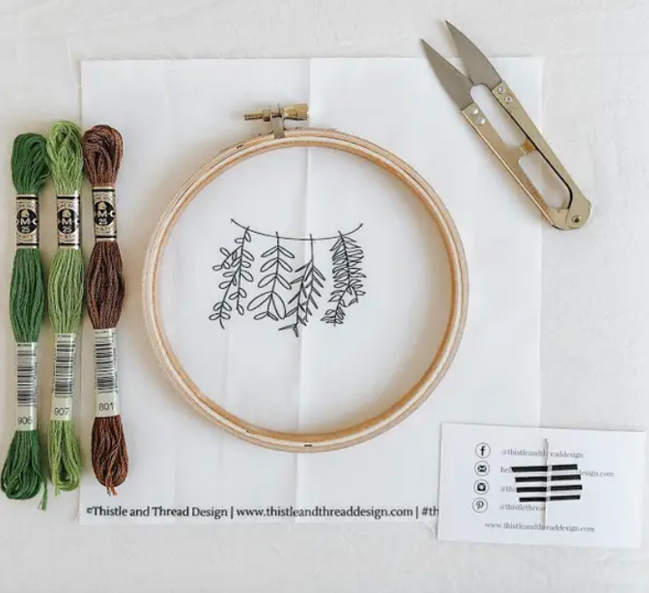 Hanging Greenery Embroidery Kit