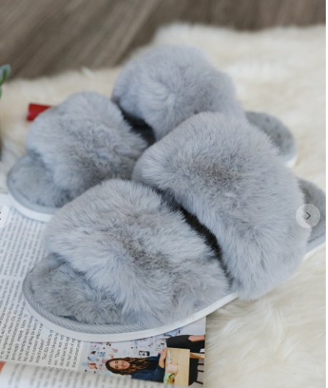 Walking on Cloud Nine Slippers in Grey
