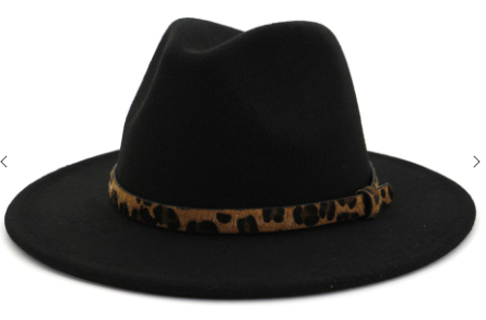 Point Belt Belt Trendy Fedora in Black