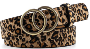 Double Ring Buckle Belt in Leopard