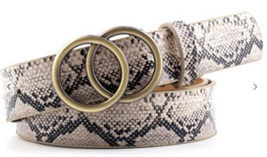 Double Ring Buckle Belt in Snake