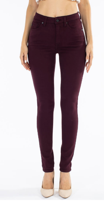 Claire Burgundy High Rise Skinny