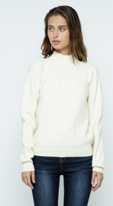 Radiating Cable Mock Neck Sweater