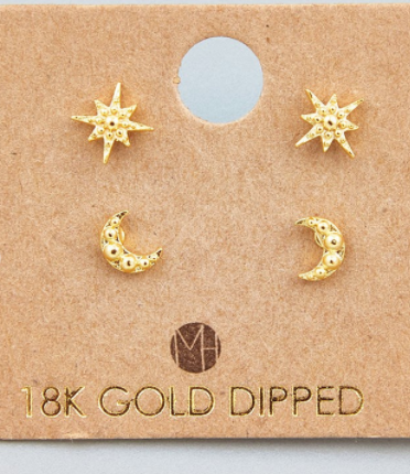 Mini Star Moon Stud Earrings Set Gold