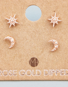 Mini Star Moon Stud Earrings Set Rose Gold