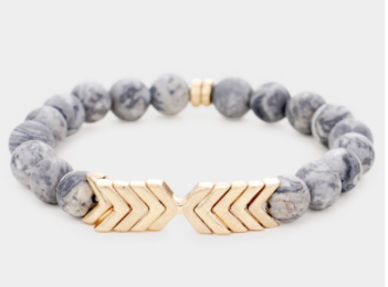 Chevron Stretch Bracelet Grey