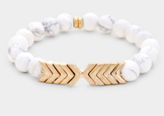 Chevron Stretch Bracelet White