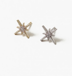 Silver North Star Earring