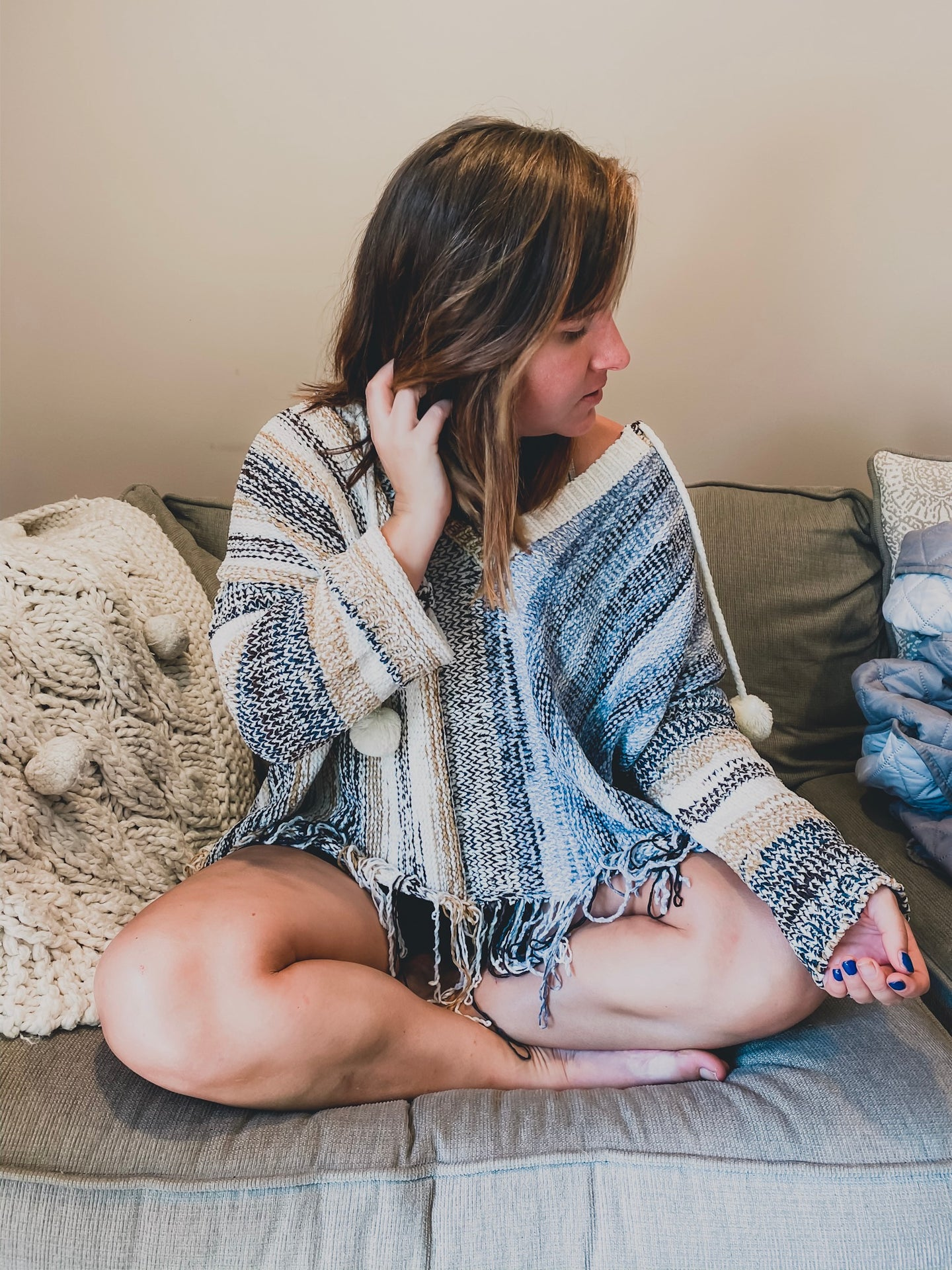 Winter Cloud Fringed Sweater