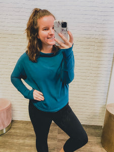 Fearless Off the Shoulder Sweater Teal