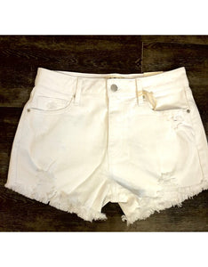 White Distressed High Rise Shorts