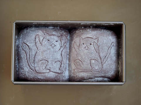 Picture of scoring on sourdough shokupan with cats