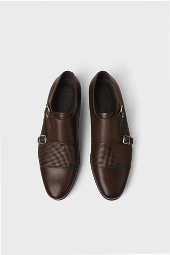 Zara Brown Leather Shoe With Two Buckles