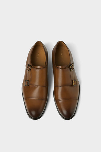 Zara Leather Double Strap Monk Shoe