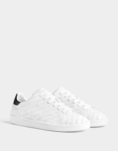 Bershka Trainers With Perforated Slogan